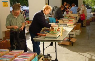 Unidentified shoppers at Used Book Sale