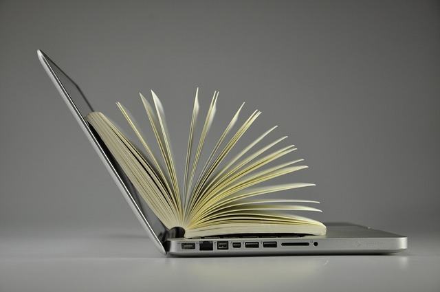 book on laptop