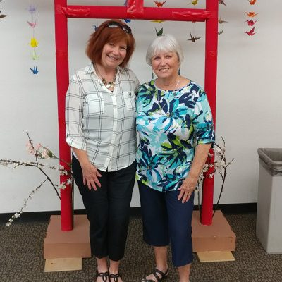 Denise Nordell, left, received the 2018 Joan Patterson Stellar Achievement Award; Pat Glatkke, right, received a Shining Star Award.