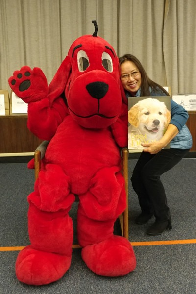 Friend and dog lover Jenlane Gee Matt shares a book about dogs with Clifford.